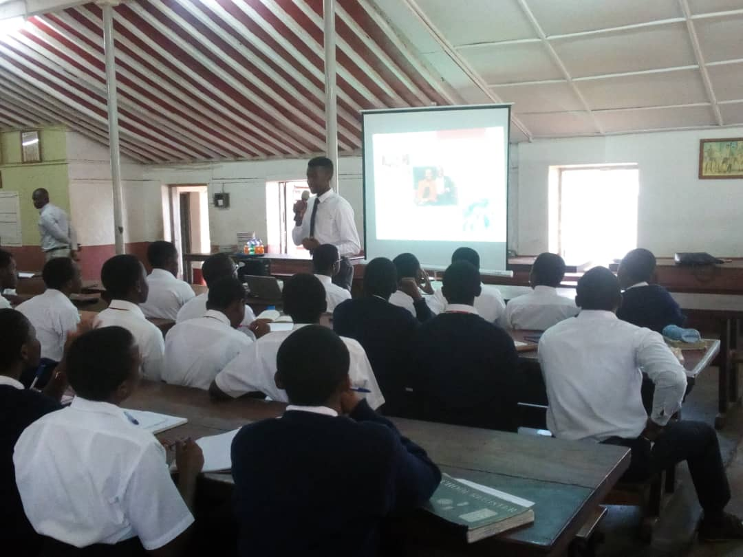 Edmund speaks to S6 students of King`s College Budo.