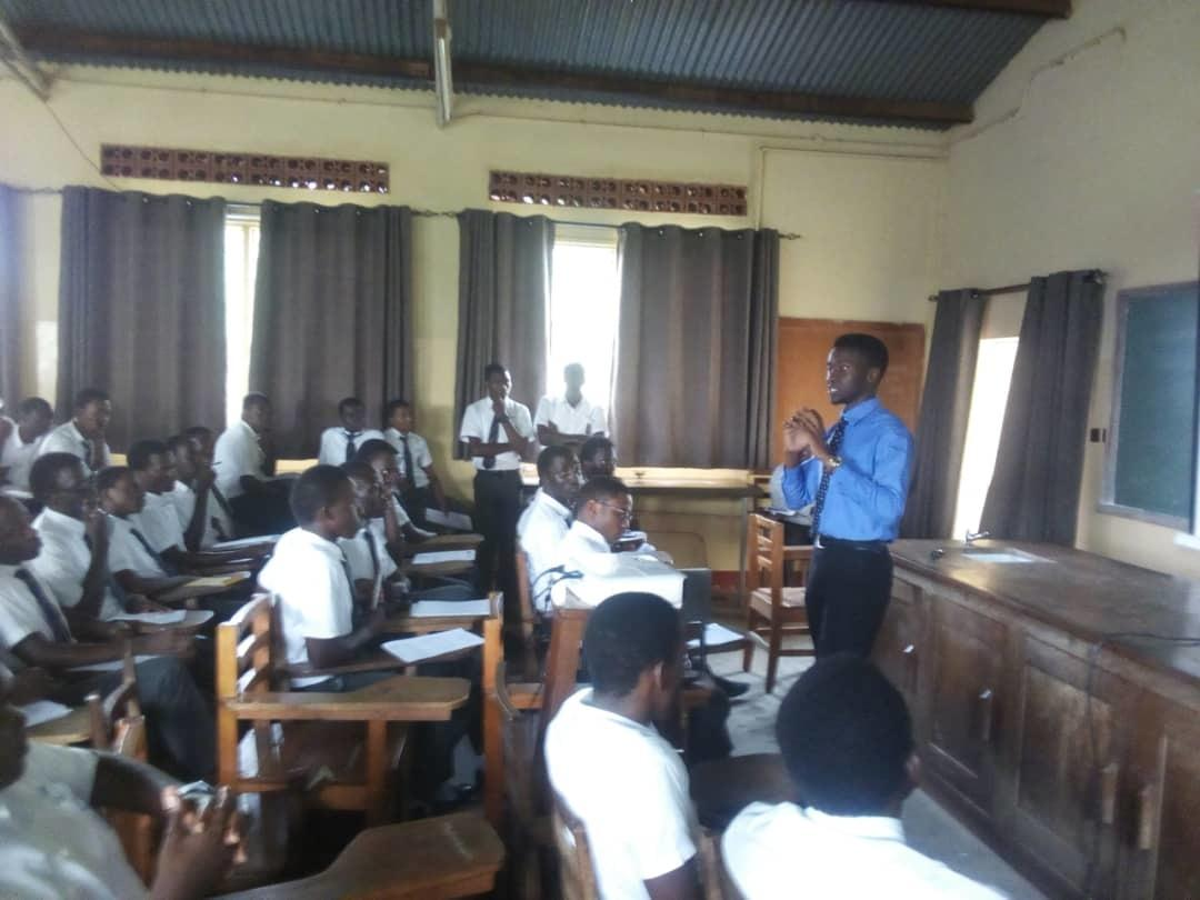 Edmund speaks to students of St. Mary`s College Kisubi.