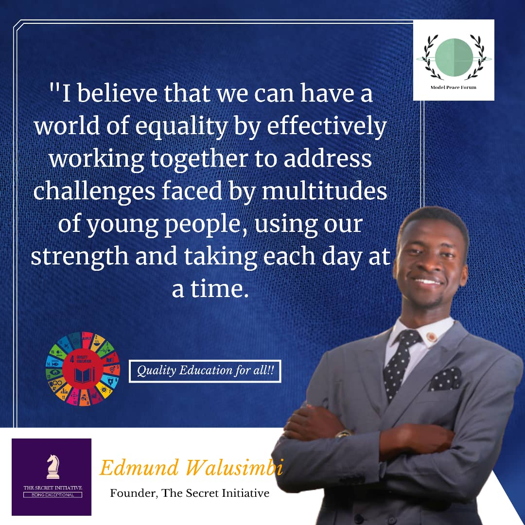 Edmund, a humanitarian under the Model Peace Forum.